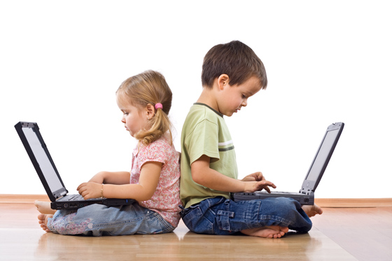 Kids glued to Laptops